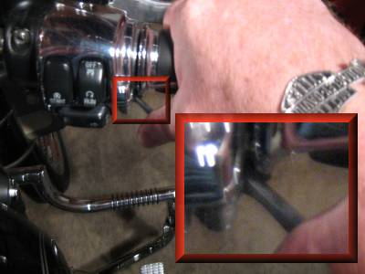 Picture shows thumb easily adjusts the throttle lock